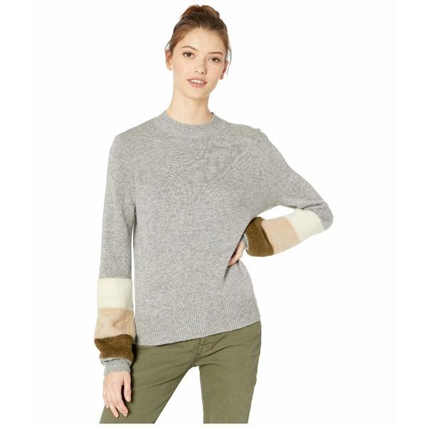 カップケーキアンドカシミア レディース ニット&セーター アウター Drew Mock Neck Sweater w/ Sleeve Stripes Heather Grey