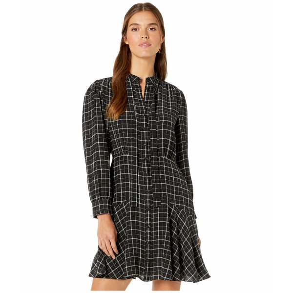 レベッカテイラー レディース ワンピース トップス Long Sleeve Plaid Silk Dress Black Combo