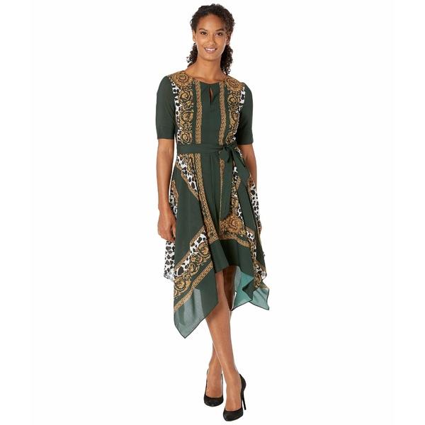 アドリアナ パペル レディース ワンピース トップス Medallion Scarf Animal Print Dress Green Multi