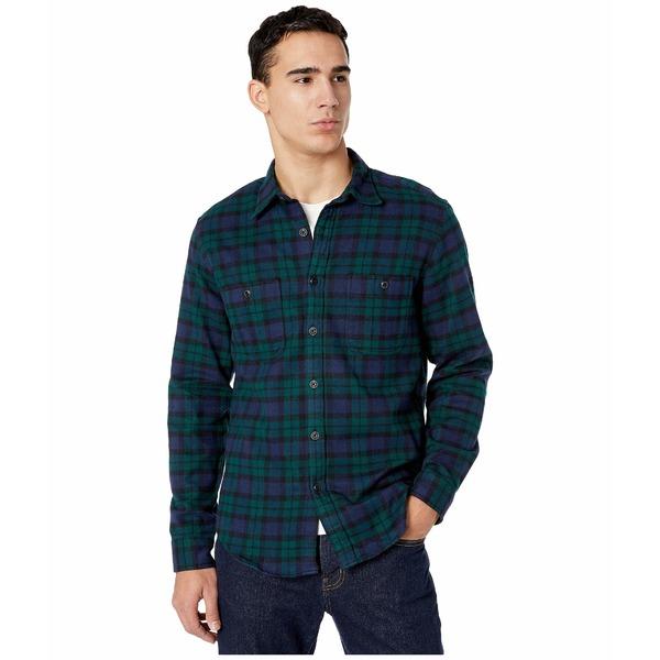 ジェイクルー メンズ シャツ トップス Slim Midweight Flannel Shirt in Black Watch Tartan Kansas Green/Black