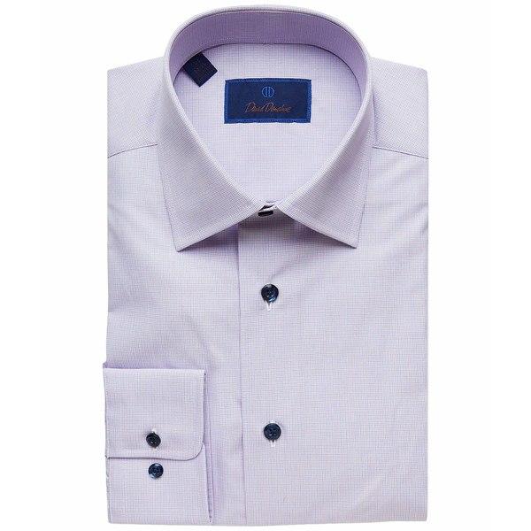デイビッドドナヒュー メンズ シャツ トップス Regular Fit Long Sleeve Micro-Plaid Dress Shirt Berry