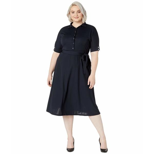 ラルフローレン レディース ワンピース トップス Plus Size Belted Jersey Shirtdress Lauren Navy