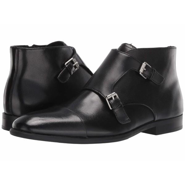 カルバンクライン メンズ ブーツ&レインブーツ シューズ Ludo Black Emboss Leather