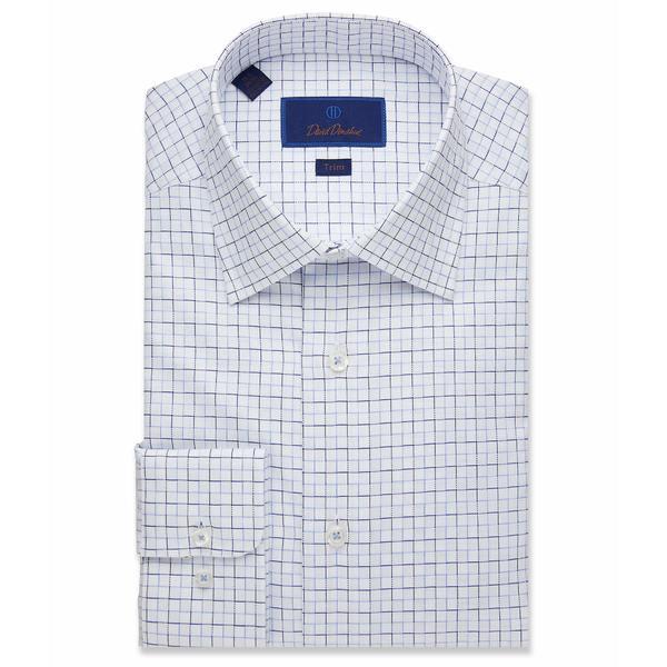 デイビッドドナヒュー メンズ シャツ トップス Trim Fit Textured Outlined Check Dress Shirt White