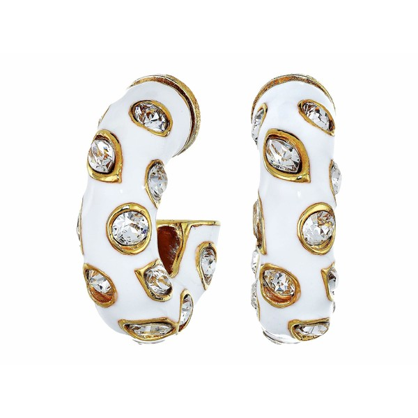 オスカー デ ラ レンタ レディース ピアス&イヤリング アクセサリー Small Metal Hoop with Crystals P Earrings White