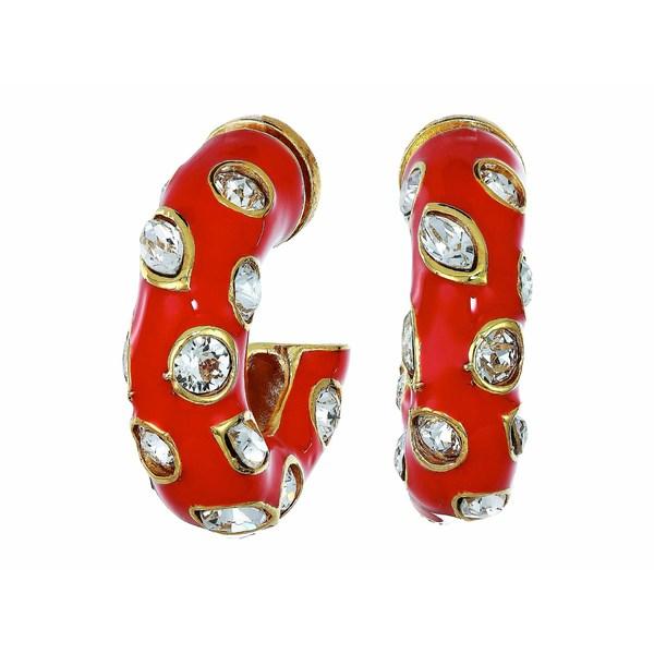 オスカー デ ラ レンタ レディース ピアス&イヤリング アクセサリー Small Metal Hoop with Crystals P Earrings Poppy