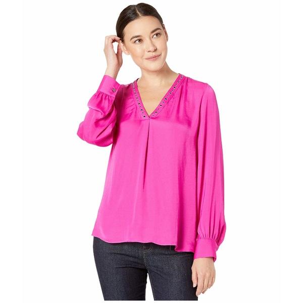 ヴィンスカムート レディース シャツ トップス Long Sleeve Studded V-Neck Rumple Blouse Pink Shock