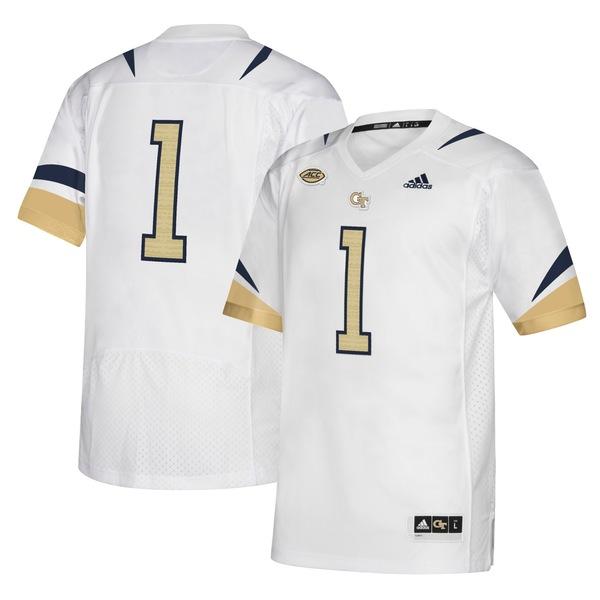 アディダス メンズ ユニフォーム トップス Georgia Tech Yellow Jackets adidas Premier Jersey White