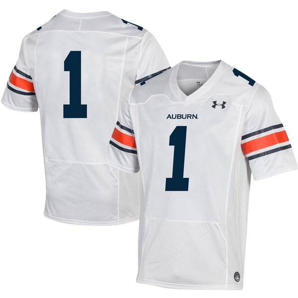 アンダーアーマー メンズ ユニフォーム トップス #1 Auburn Tigers Under Armour Replica Football Jersey White