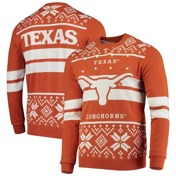 フォコ メンズ シャツ トップス Texas Longhorns College Two-Stripe Light-Up Sweater Texas Orange