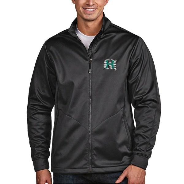 アンティグア メンズ ジャケット&ブルゾン アウター Hawaii Warriors Antigua Golf Full-Zip Jacket Charcoal