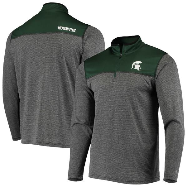 コロシアム メンズ ジャケット&ブルゾン アウター Michigan State Spartans Colosseum Rangers Quarter-Zip Pullover Wind Shirt Black