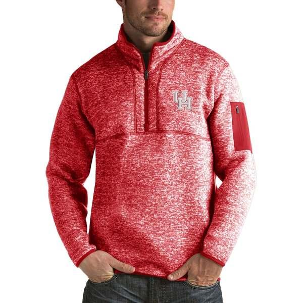 アンティグア メンズ ジャケット&ブルゾン アウター Houston Cougars Antigua Fortune 1/2-Zip Pullover Jacket Heathered Red