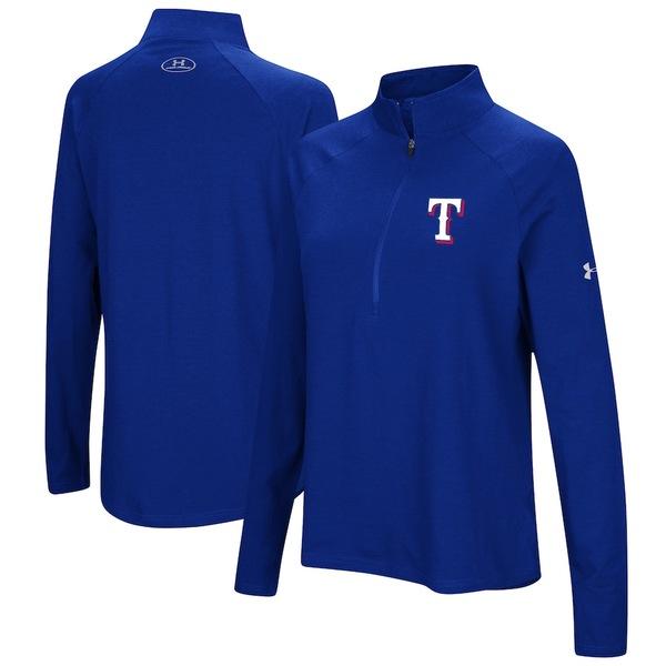 アンダーアーマー レディース ジャケット&ブルゾン アウター Texas Rangers Under Armour Women's Passion Performance Tri-Blend Raglan Half-Zip Pullover Jacket Royal
