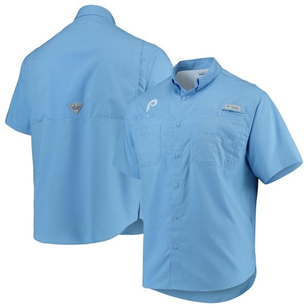 コロンビア メンズ シャツ トップス Philadelphia Phillies Columbia Cooperstown Collection Tamiami Button-Down Omni-Shade Shirt Light Blue