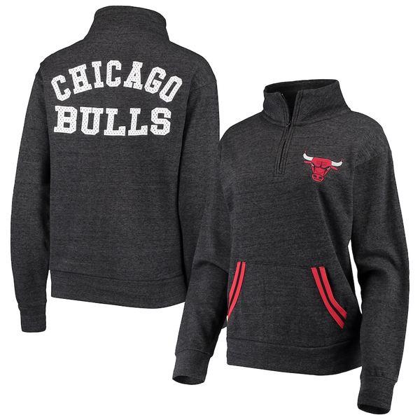 ニューエラ レディース ジャケット&ブルゾン アウター Chicago Bulls New Era Women's Striped Trim Tri-Blend Half-Zip Pullover Jacket Black