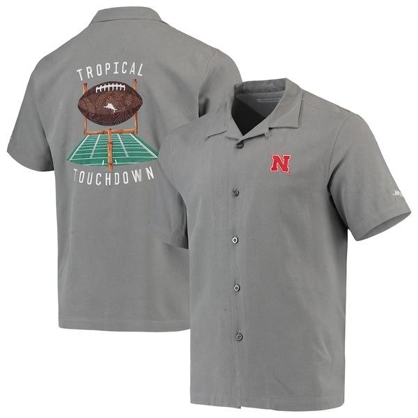トッミーバハマ メンズ シャツ トップス Nebraska Cornhuskers Tommy Bahama Tropical Touchdown Camp Button-Up Shirt Gray