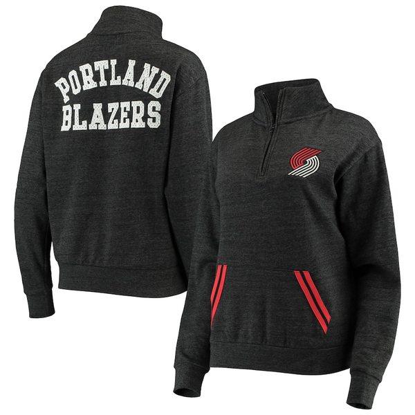 ニューエラ レディース ジャケット&ブルゾン アウター Portland Trail Blazers New Era Women's Striped Trim Tri-Blend Half-Zip Pullover Jacket Black