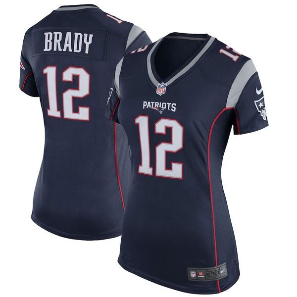 ナイキ レディース シャツ トップス Tom Brady New England Patriots Nike Women's Game Jersey Navy Blue