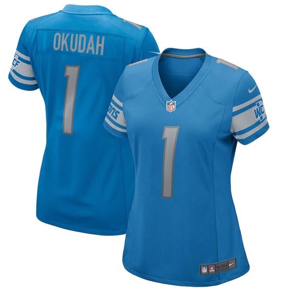ナイキ レディース シャツ トップス Jeff Okudah Detroit Lions Nike Women's 2020 NFL Draft First Round Pick Game Jersey Blue