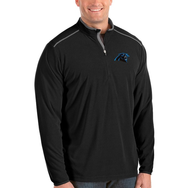 アンティグア メンズ ジャケット&ブルゾン アウター Carolina Panthers Antigua Glacier Big & Tall Quarter-Zip Pullover Jacket Black
