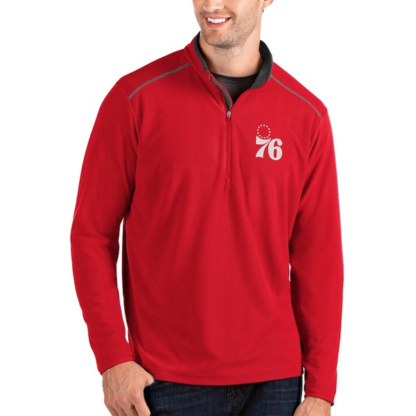 アンティグア メンズ ジャケット&ブルゾン アウター Philadelphia 76ers Antigua Glacier Quarter-Zip Pullover Jacket Red/Gray