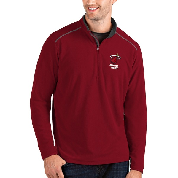 アンティグア メンズ ジャケット&ブルゾン アウター Miami Heat Antigua Glacier Quarter-Zip Pullover Jacket Red/Gray