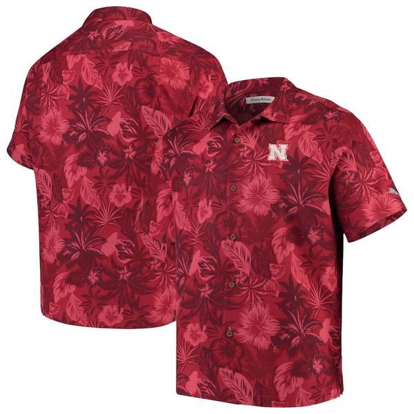 トッミーバハマ メンズ シャツ トップス Nebraska Cornhuskers Tommy Bahama Fuego Floral Silk Camp Shirt Scarlet