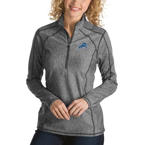 アンティグア レディース ジャケット&ブルゾン アウター Detroit Lions Antigua Women's Tempo Desert Dry Quarter-Zip Jacket Heather Charcoal