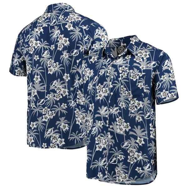 フォコ メンズ シャツ トップス Tampa Bay Lightning Floral Button-Up Shirt Blue