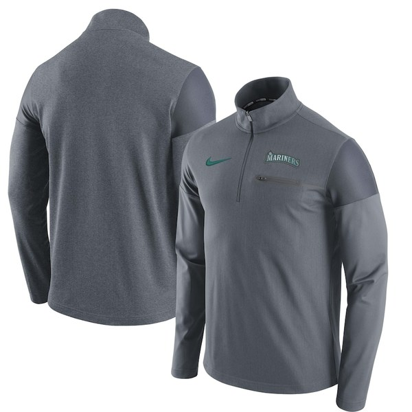 ナイキ メンズ ジャケット&ブルゾン アウター Seattle Mariners Nike Elite Half-Zip Pullover Jacket Gray