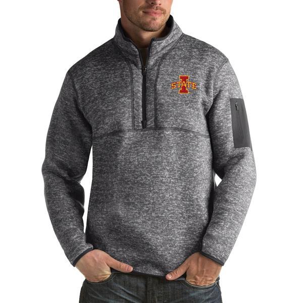 アンティグア メンズ ジャケット&ブルゾン アウター Iowa State Cyclones Antigua Fortune Big & Tall Quarter-Zip Pullover Jacket Charcoal