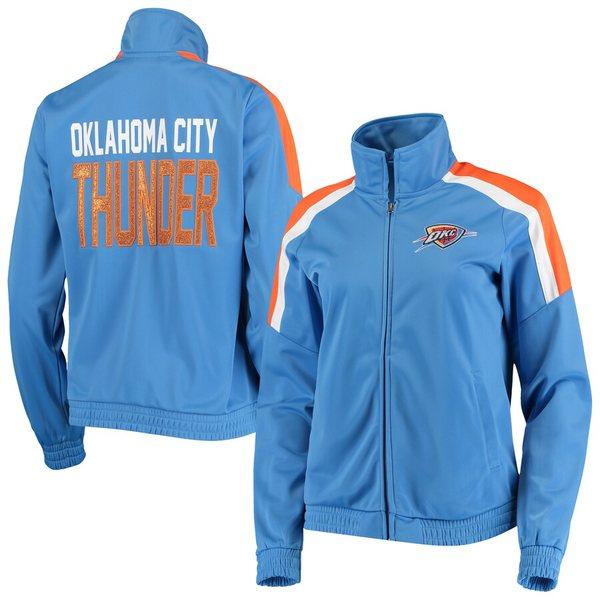 カールバンクス レディース ジャケット&ブルゾン アウター Oklahoma City Thunder G-III 4Her by Carl Banks Women's Jump Shot Full-Zip Track Jacket Blue