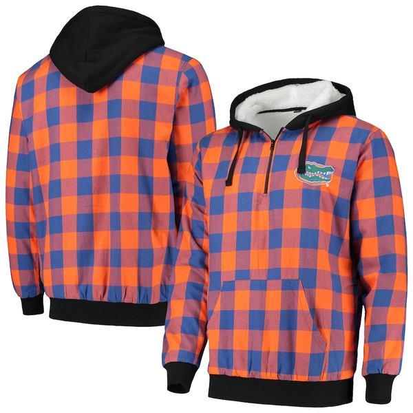 フォコ メンズ ジャケット&ブルゾン アウター Florida Gators Large Check Flannel Quarter-Zip Pullover Hoodie Royal/Orange