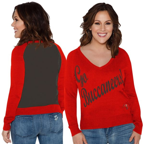 アリッサミラノ レディース シャツ トップス Tampa Bay Buccaneers Touch by Alyssa Milano Women's Plus Size MVP V-Neck Pullover Sweater Red