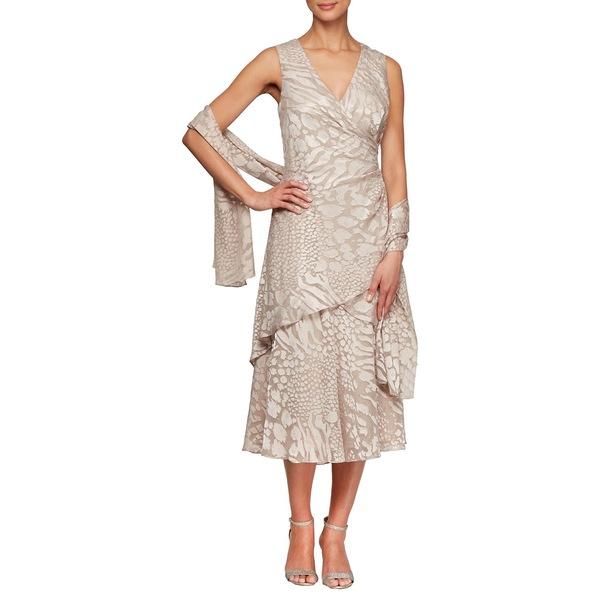 アレックスイブニングス レディース ワンピース レディース トップス Printed 2-Piece A-Line Dress 2-Piece Set Set Champagne, ブラッドフォード:a66da89e --- officewill.xsrv.jp