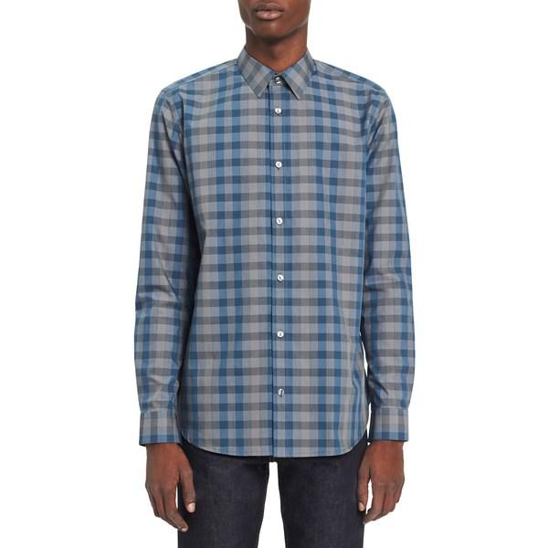 カルバンクライン メンズ シャツ トップス Gradient Check Shirt Clear Sky