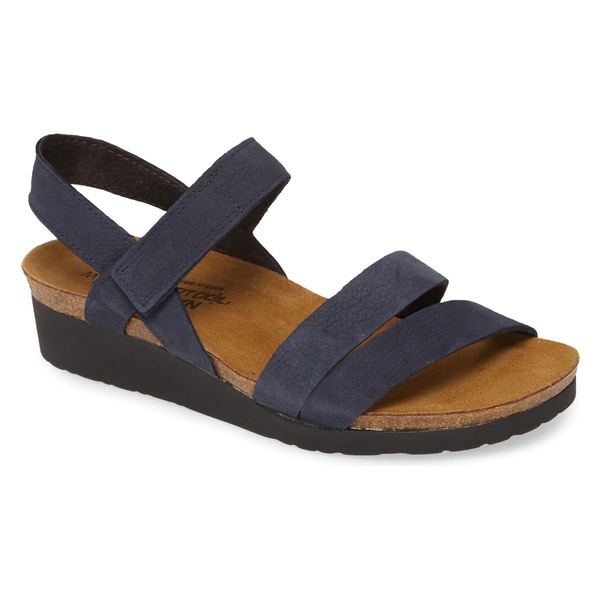 ナオト レディース サンダル シューズ Naot Kayla Wedge Sandal (Women) (Wide Width) Navy Velvet Nubuck Leather