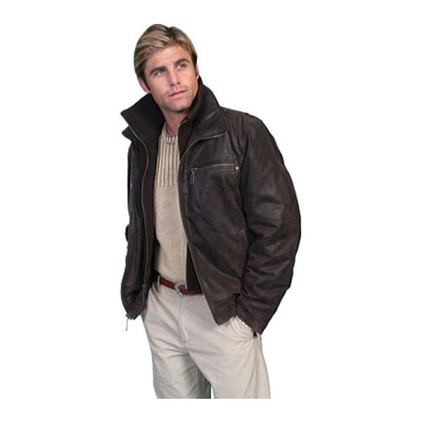 買得 スカーリー メンズ ジャケット&ブルゾン アウター 400 Leather Jacket アウター w Leather/ Knit Front & Collar 400 (Men's) Brown, 東京ゴルフ:2e9f66e2 --- gerber-bodin.fr