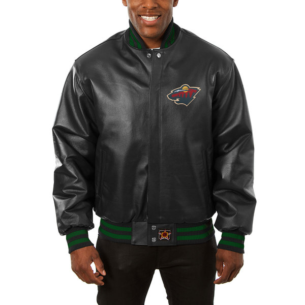 ジェイエイチデザイン メンズ ジャケット&ブルゾン アウター Minnesota Wild JH Design Big & Tall AllLeather Jacket with Front Leather Logo Black