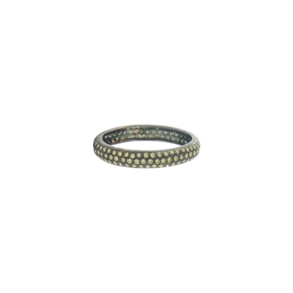 セチクチュール レディース リング アクセサリー PavDiamond Band Ring Black Rhodium/ Green Diamond