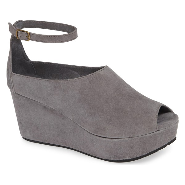 ショコラブルー レディース サンダル シューズ Chocolat Blu Walter Ankle Strap Wedge Sandal (Women) Grey Suede