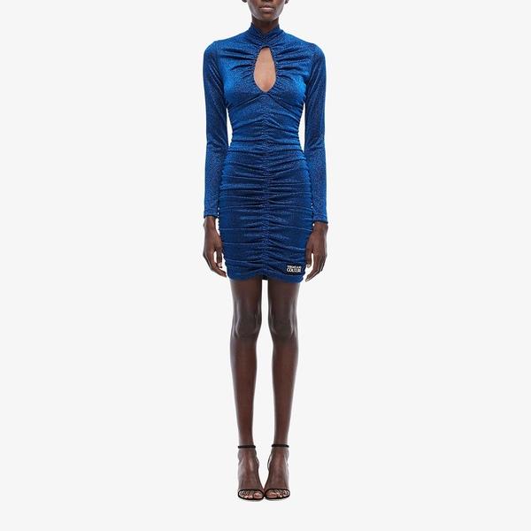 ベルサーチ レディース ワンピース トップス Long Sleeve Mini Dress Blue