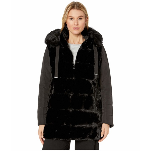 ヴィアスピガ レディース コート アウター Mixed Media Wide Grooved Faux Fur w/ Detachable Hood Black