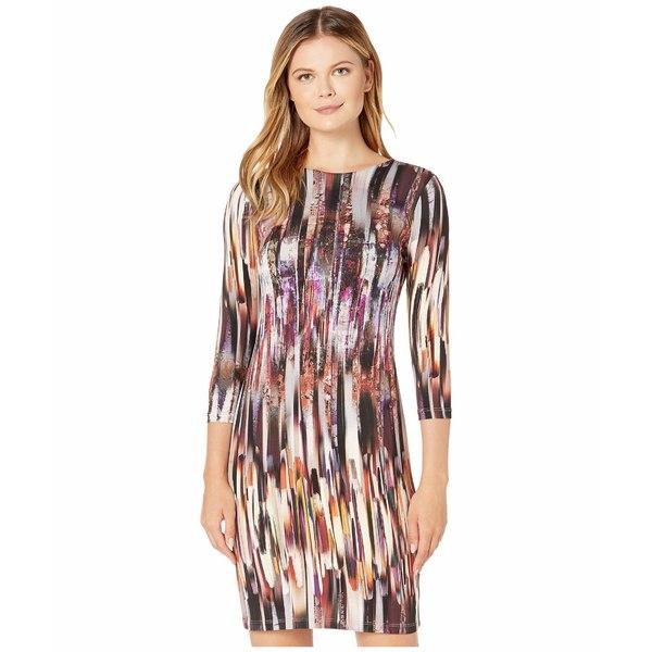 カレンケーン レディース ワンピース トップス 3/4 Sleeve Sheath Dress Print