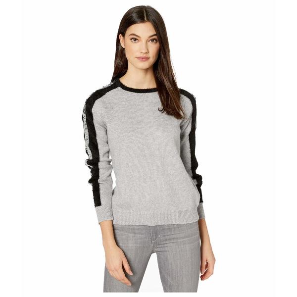 ワンステイト レディース ニット&セーター アウター Sequin Stripe Crew Neck Eyelash Sweater Light Heather Grey
