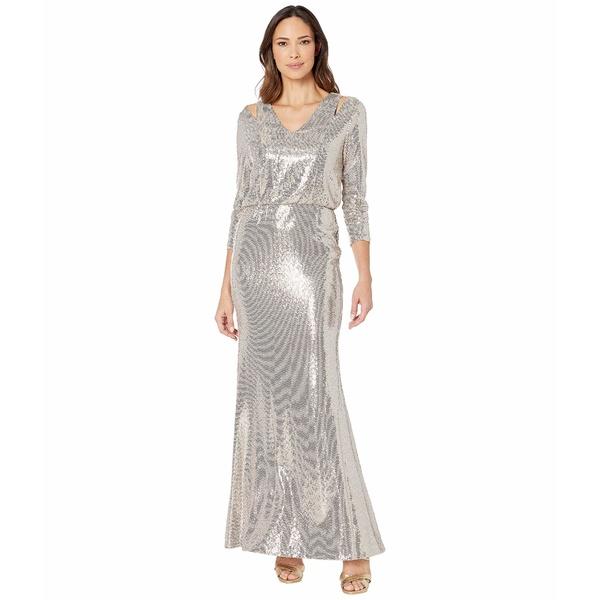 カルバンクライン レディース ワンピース トップス Sequin Gown w/ Shoulder Cutouts Gold Multi