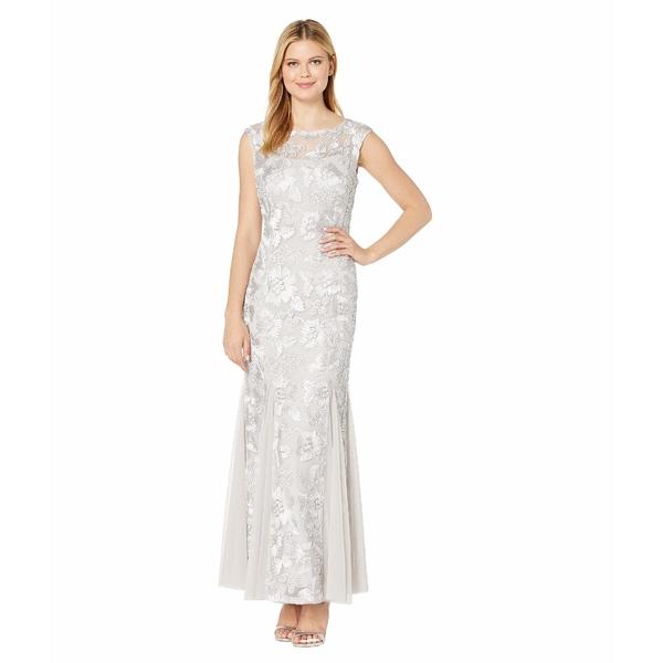アレックスイブニングス レディース ワンピース トップス Long Cap Sleeve Embroidered Dress with Godet Detail Skirt Platinum