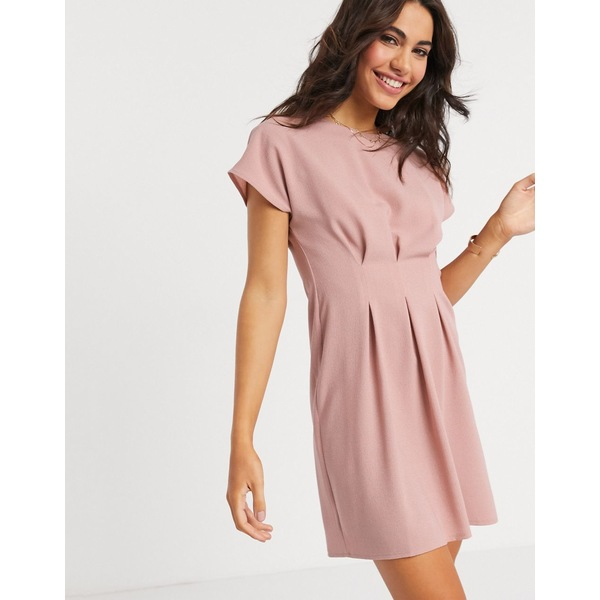 エイソス レディース ワンピース トップス ASOS DESIGN nipped in waist mini dress in pink Rose pink