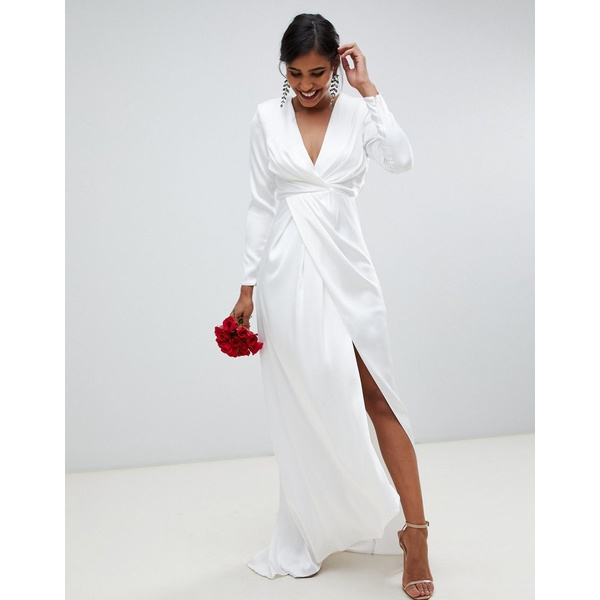 エイソス レディース ワンピース トップス ASOS EDITION pleated plunge wrap wedding dress in satin White